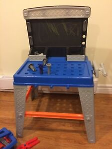 Toy work bench and tools