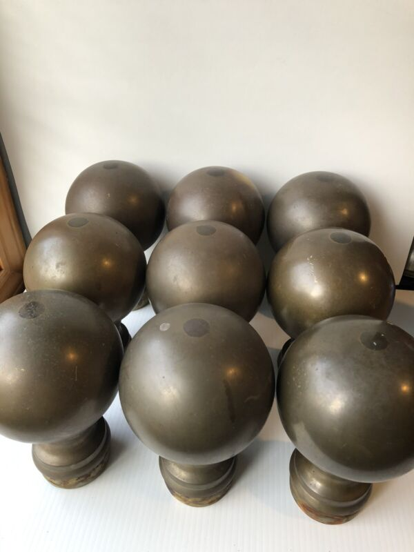 Set of 9 Vintage Round Brass Post Fence Toppers