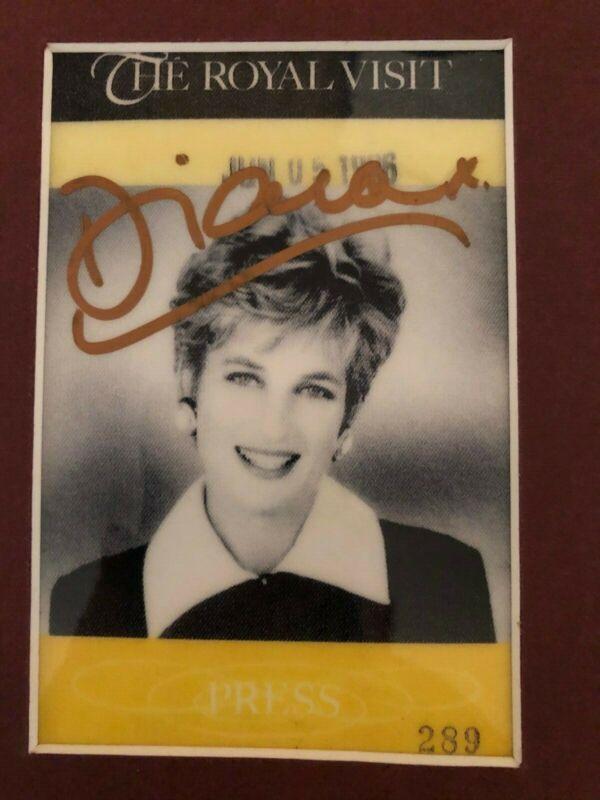 Princess Diana signed The Royal Visit Press Pass