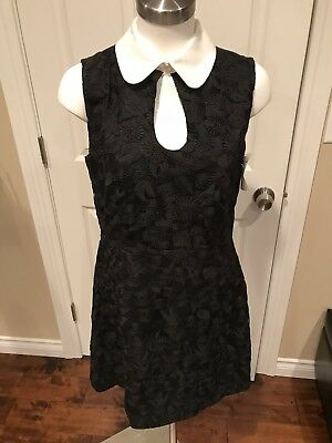 Jill Stuart Black Floral Dress w/ Peter Pan Collar, Size 10, NWT