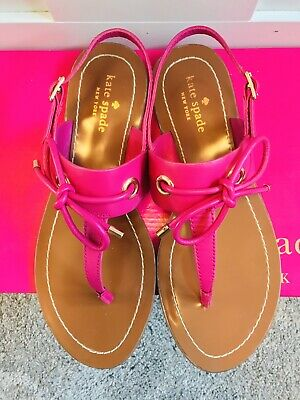 Kate Spade Women's Carolina Sandals Pink Leather T-Strap Bow Flats Size 7.5