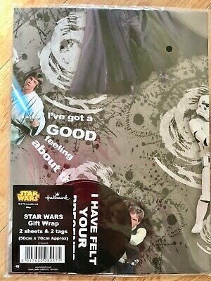 New Star Wars Birthday Wrapping Paper (Inc 2 Sheets & 2 Tags)