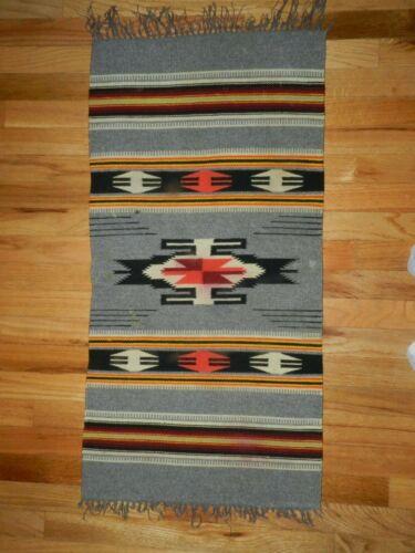 "VINTAGE CHIMAYO  CLASSIC,SOUTHWEST DESIGN BLANKET 100% FINE WOOL 20"",X,38"""" RUG"