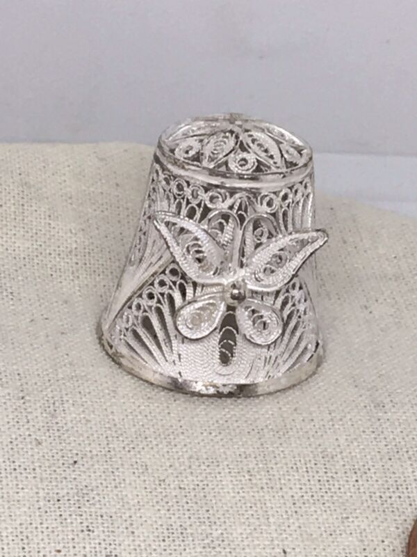 Rare Vintage Sterling Silver Filigree Butterfly Thimble 11-26