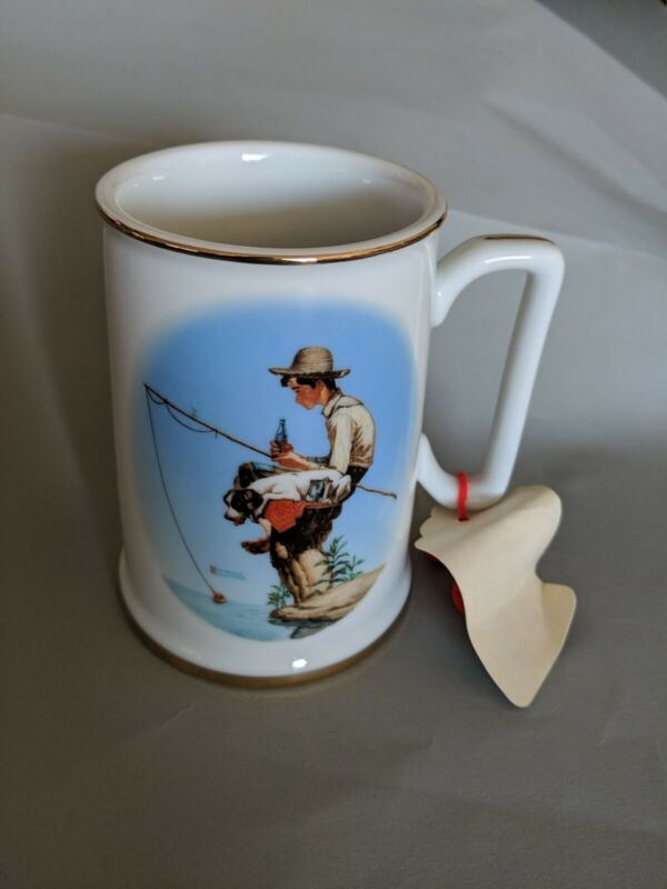 Vintage Coca Cola Norman Rockwell Mug OUT FISHIN