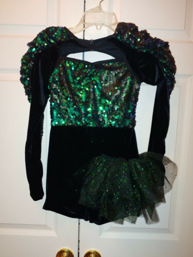 Girl Weissman A World Alone 8465 Green Sequin Side Bustle Dance Costume Size LC