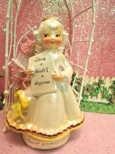 Vtg Opalescent Count Your Blessings Angel Holding Love Health Happiness Banner