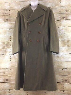 WW2 US Army Wool Overcoat 37R Officers Regulation Trench Double Breasted 1942