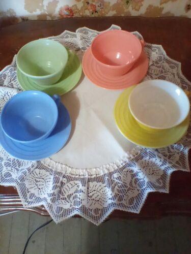 Hazel Atlas Monderntone Cups & Saucers