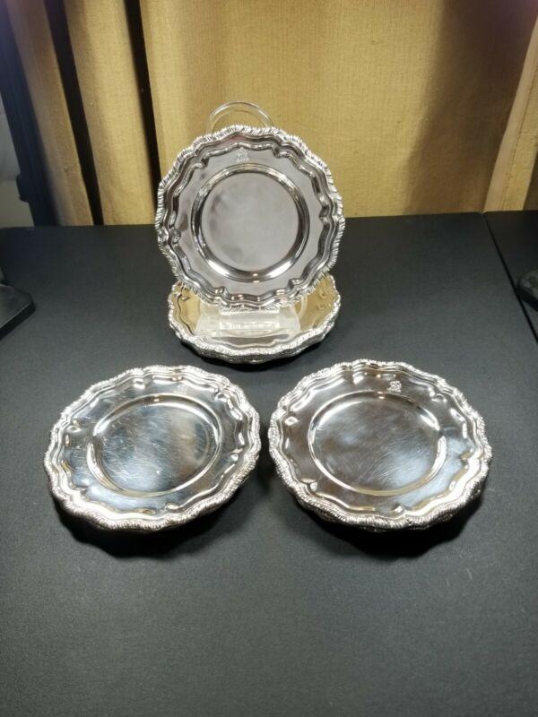 "Set of 10 Vintage Crown Silver Co. Dessert Plates 6 3/4"" Griffin or Dragon Rim"