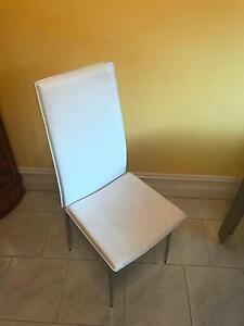 White Leather Hi Back Dining Chairs x8 Drummoyne Canada Bay Area Preview