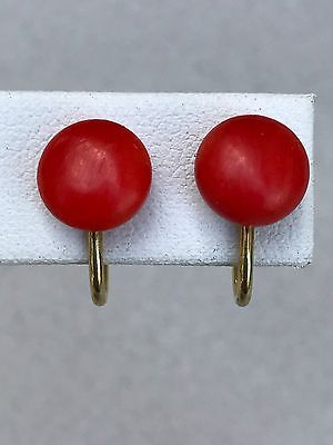 Antique Victorian Salmon Coral 9mm Earrings Amerik K&L Double Gold Plated