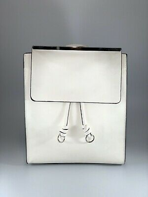 Zara Trafaluc White Faux Leather Square Backpack with metal details handbag 🔥