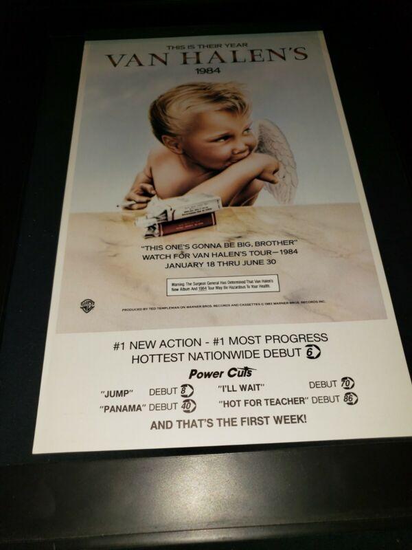 Van Halen Jump 1984 Rare Original Radio Promo Poster Ad Framed!