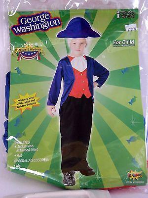 Child Size 12-14 George Washington Colonial Boy Halloween Costume School Play - George Washington Halloween Mask