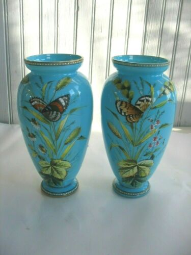PAIR Handpainted French Blue Opaline Glass Vases BUTTERFLIES Flowers 8 1/2""