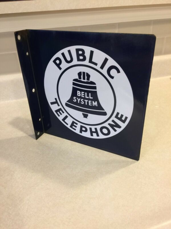 """Bell System Public Telephone 2-Sided 11""""x11"""" Porcelain Sign"""