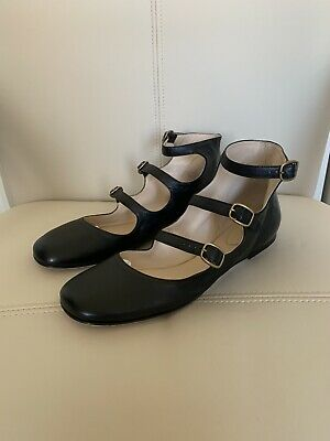 NIB Auth Chloe Black Triple Strap Mary Jane Flats 39 / 9 $670 Triple Strap Mary Jane