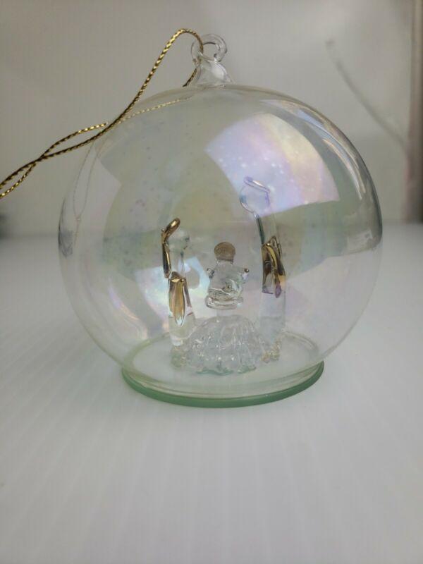 Vintage Sorelle Christmas Globe Ornament Hand Blown Nativity Gold Jesus