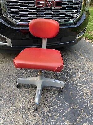 Vtg Red Cramer Industrial Swivel Drafting Chair Roller Propeller Swag Modern Art