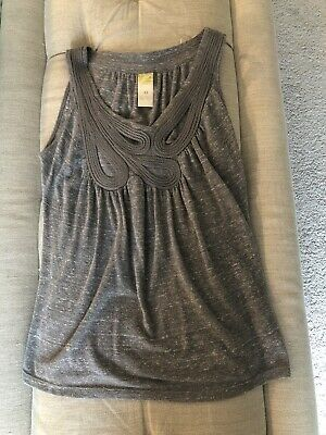 NEW Anthropologie C Keer Gray Top Rope Cutout Tank XS