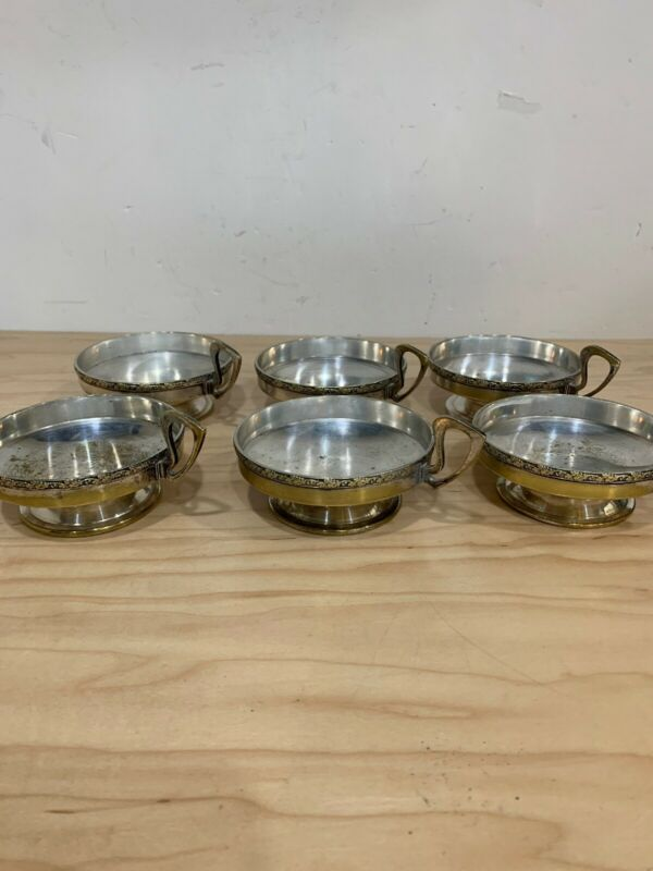 Antique Argento Silver On Brass Tea Cup Saucers A.S.I.G  Set Of 6