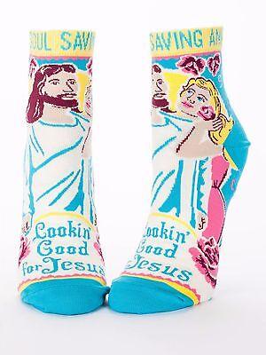 Blue Q Women's Ankle Funny Novelty Socks, Lookin' Good for Jesus - Blue (OSFA) (Jesus Socks)