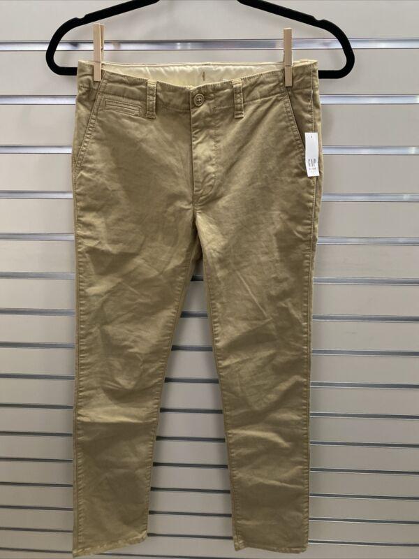Gap Kids NWT Boys 16 Slim Khaki Tan Chino Pants Adjustable Waist