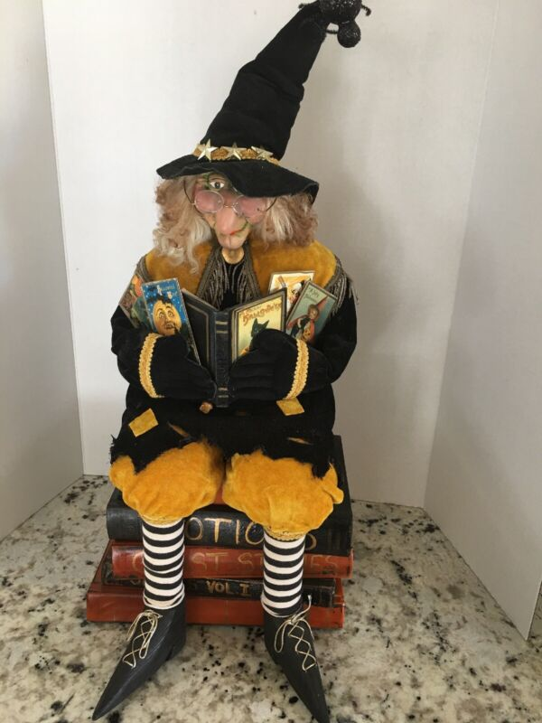 Halloween Sitting Witch on Attached/Permanent Stack of Books