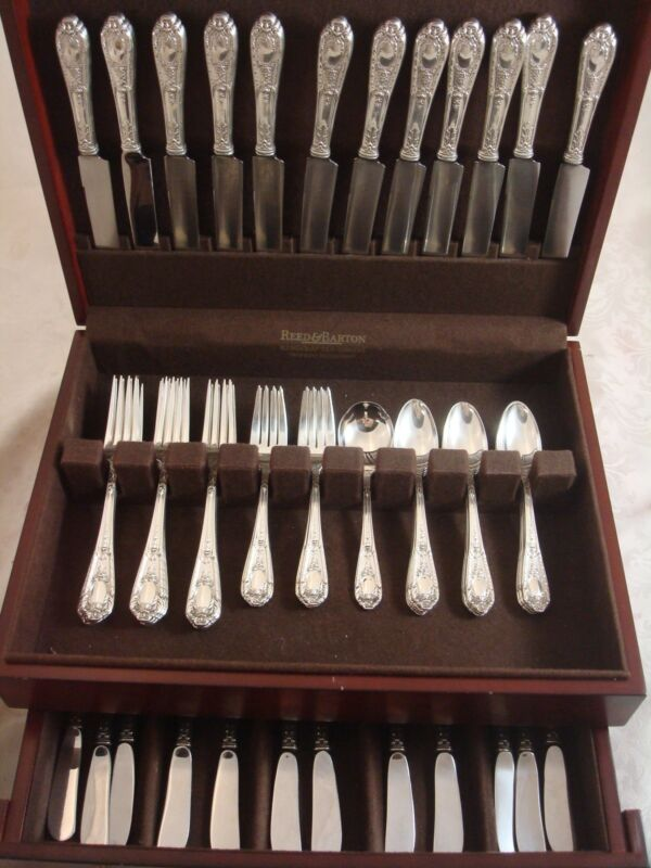Fontaine by International Sterling Silver Flatware Set Service 60 Pcs No Mono