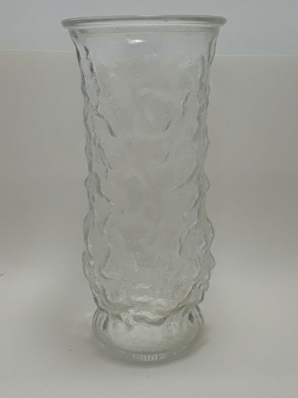 E.O. Brody Co Clear Glass Flower Vase 8.5 inch tall Textured Crinkle Raised #110