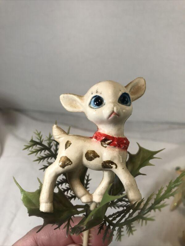 Vintage White Plastic Christmas Deer On Greenery For Floral Arrangement