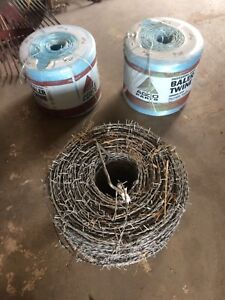 Bail twine and barb wire