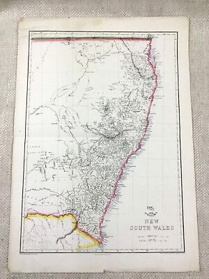 Antique Map of Australia New South Wales Old Hand Coloured 19th Century Original
