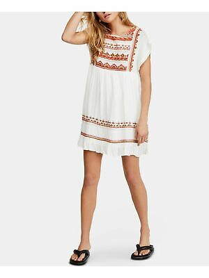 FREE PEOPLE $148 Womens New White Printed Embroidered Shift Dress L B+B