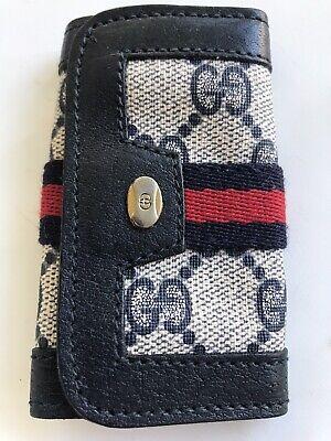 Vintage Authentic GUCCI GG Blue Logo 6 Keys Snap Key Card Holder Leather Canvas