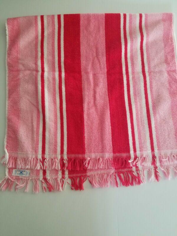 "VINTAGE CANNON pink red  STRIPE BATH TOWEL  21x38"""