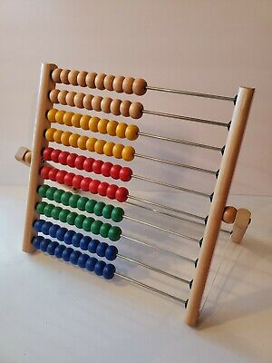 """Folding Abacus Wooden Frame 12"""" Tall Ten Rows Colored Beads Counting Toy IKEA"""