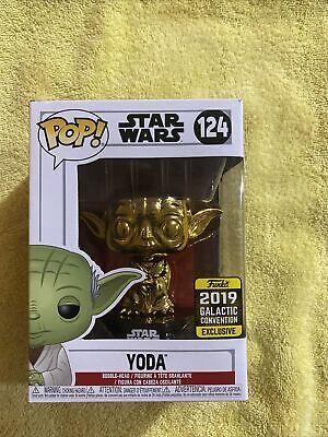 Rare Funko Pop - Star Wars - Gold Yoda #124 Exclusive