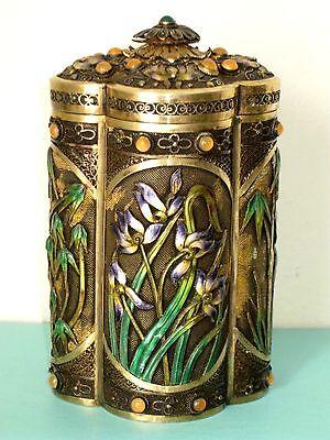 ANTIQUE CHINESE IRIS/BAMBOO CLOISONNE ENAMEL JADE SILVER TEA CADDIE JAR BOX