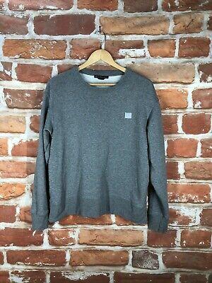$395 Acne Studios XS Fairview Face Designer Grey Melange Sweatshirt Sweater