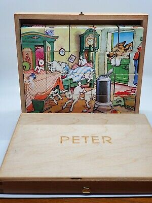 Vintage Made In Germany Hermann Eichhorn Fairy Tale Picture Cube Blocks Puzzle