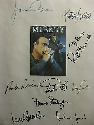 Misery Signed Film Script X9 James Caan Kathy Bates Stephen King Rob Reiner rpnt