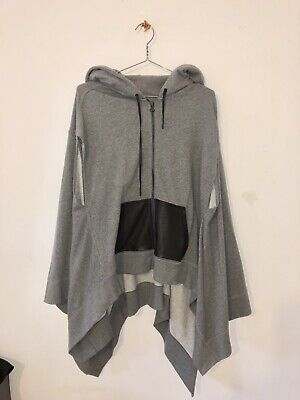 Alexander Wang.T Leather-trimmed Sweatshirt Hooded Poncho. Size Small