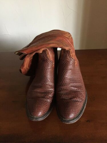 Larry, Mahan, Brown, Lizard, Skin, Cowboy, Boots, Mens, size, 9, B