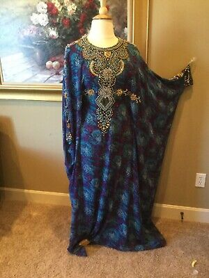 XL EVENING CAFTAN dress gown ABAYA jalabiyah Arabic chiffon butterfly maxi boho