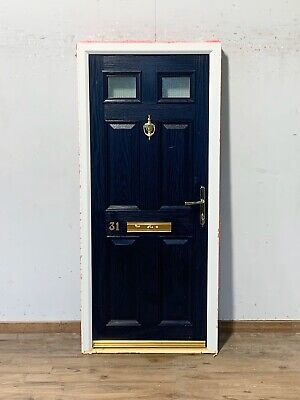 BLUE COMPOSITE FRONT DOOR-EXTERIOR-EXTERNAL-FD30-FIRE RATED-ENTRANCE-GRP-6 PANEL