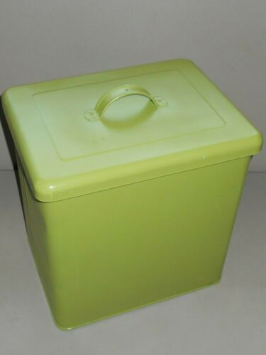 Large Vintage Strong Kitchen Metal Storage Box With Lid Green & Blue