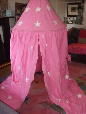 Fabulous Pink / Silver Star Fabric Hanging Play Tent / Bed Canopy by Win Green