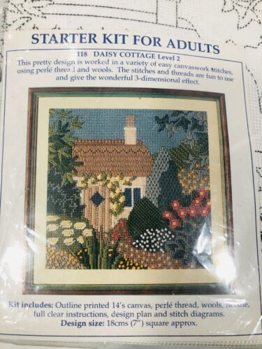 Vintage English Daisy Cottage Needlepoint Kit New in factory-sealed package